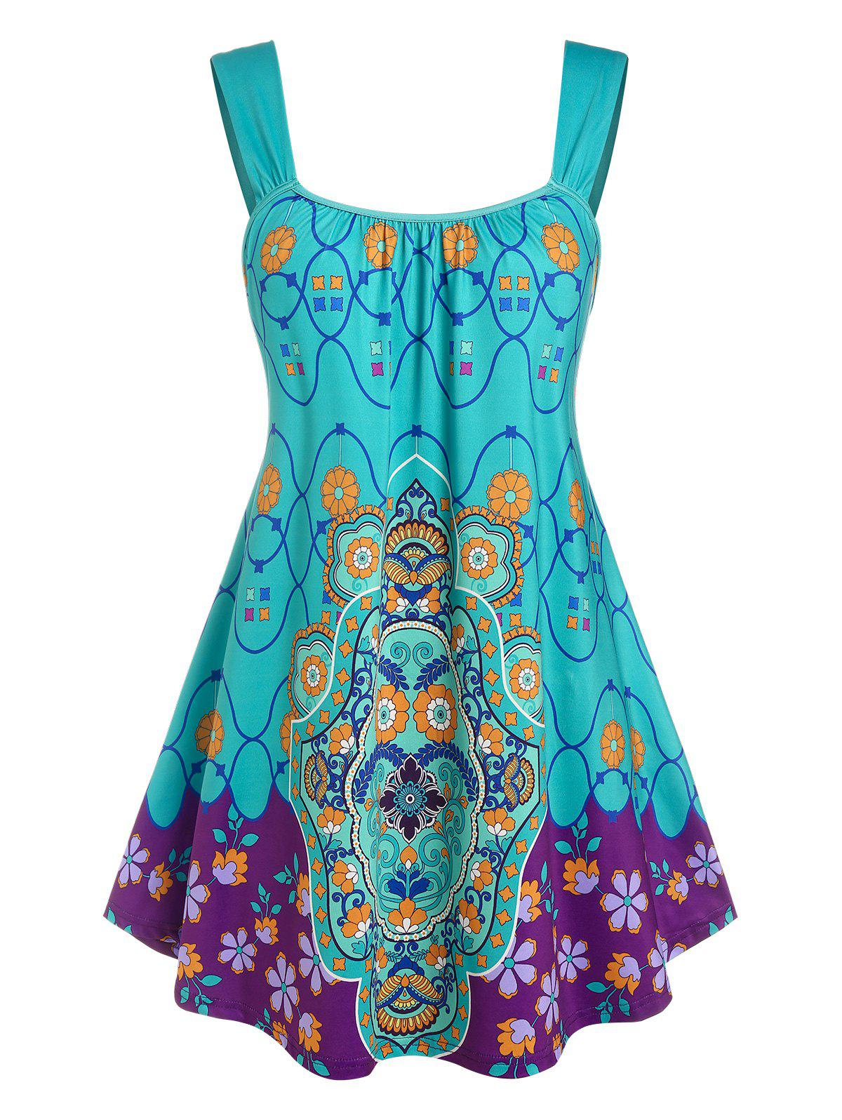 Plus Size Sleeveless Floral Print Swing Top - BLUE 3X