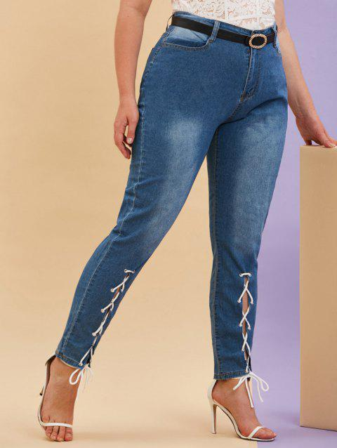 Lace Up Front Mid Rise Plus Size Skinny Jeans