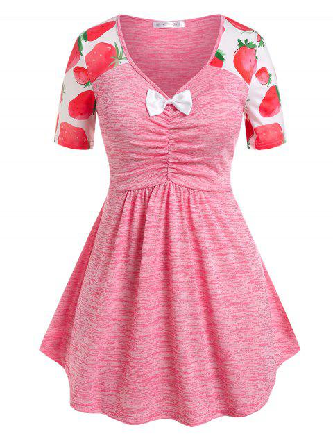 Plus Size Strawberry Print Bowknot Ruched Tee