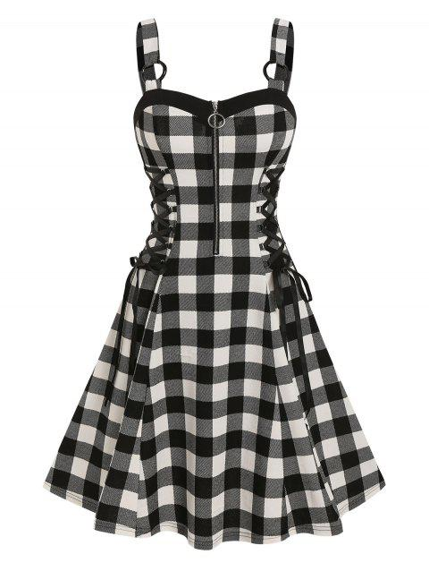Checked Lace Up O Ring Dress