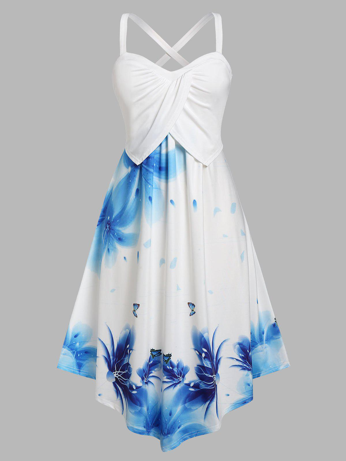 Plus Size Overlap Pleated Flower Print Midi Dress - LIGHT BLUE 3X