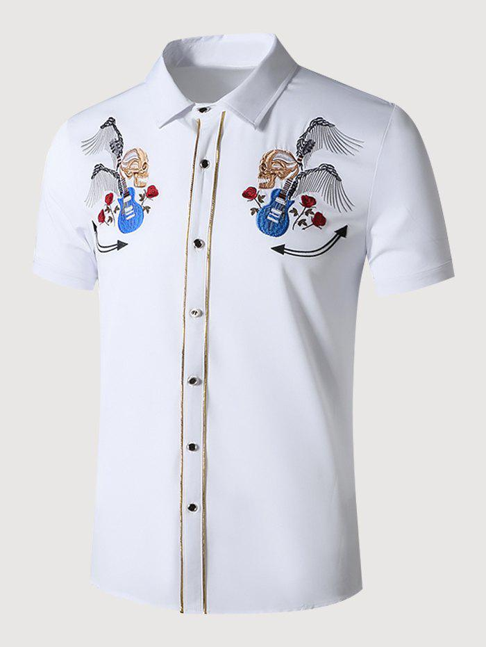 Guitar Skull Rose Embroidered Metallic Thread Shirt - WHITE XL