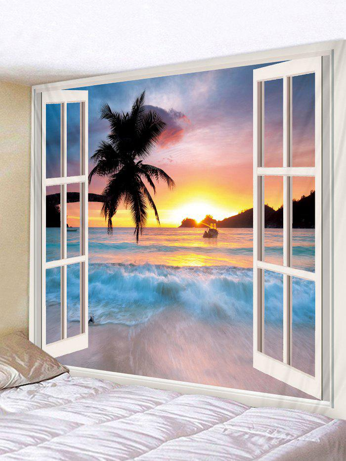 3D Window Seaside Sunset Print Tapestry - multicolor A W59 X L51 INCH
