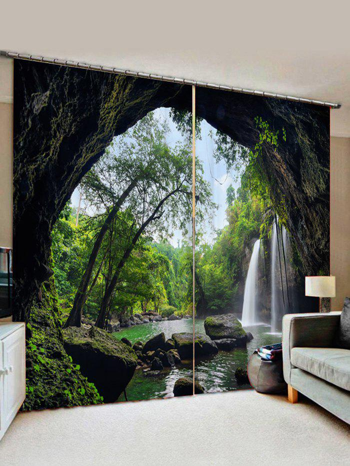 2 Panels Cave Waterfall Forest Print Window Curtains - ARMY GREEN W30 X L65 INCH X 2PCS