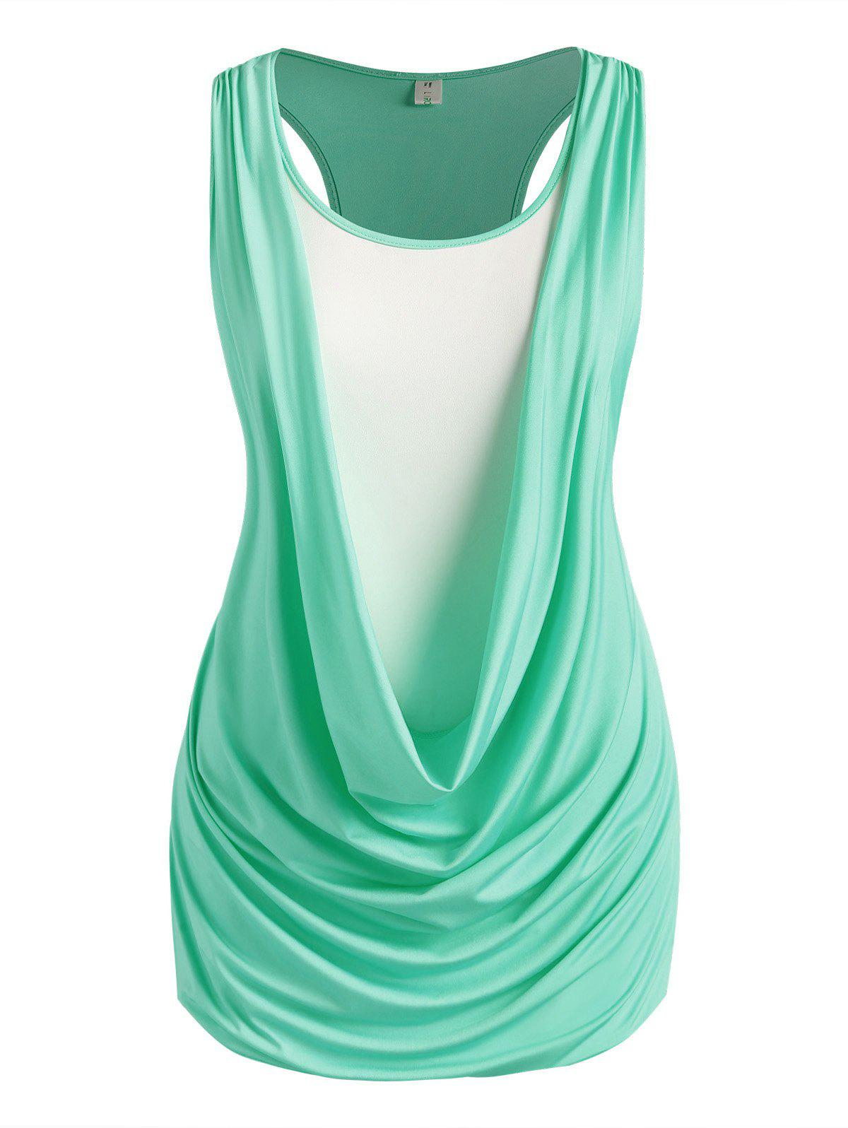 Plus Size Draped Racerback 2 In 1 Ruched Tank Top - LIGHT GREEN 5X