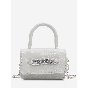 Chunky Chain Embellished Embossed Crossbody Bag - WHITE