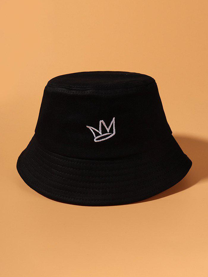 Crown Embroidered Causal Bucket Hat - BLACK