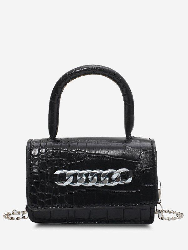 Chunky Chain Embellished Embossed Crossbody Bag - BLACK