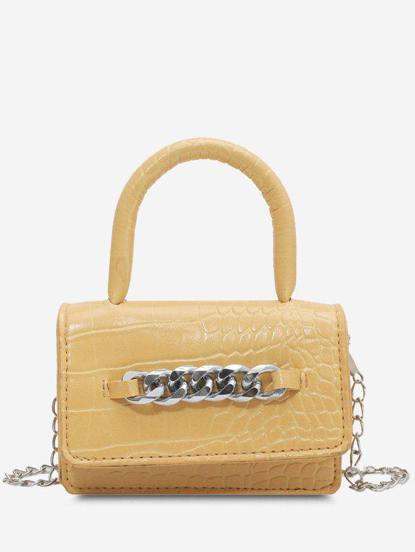 Chunky Chain Embellished Embossed Crossbody Bag - SUN YELLOW