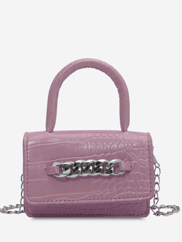 Chunky Chain Embellished Embossed Crossbody Bag - LILAC