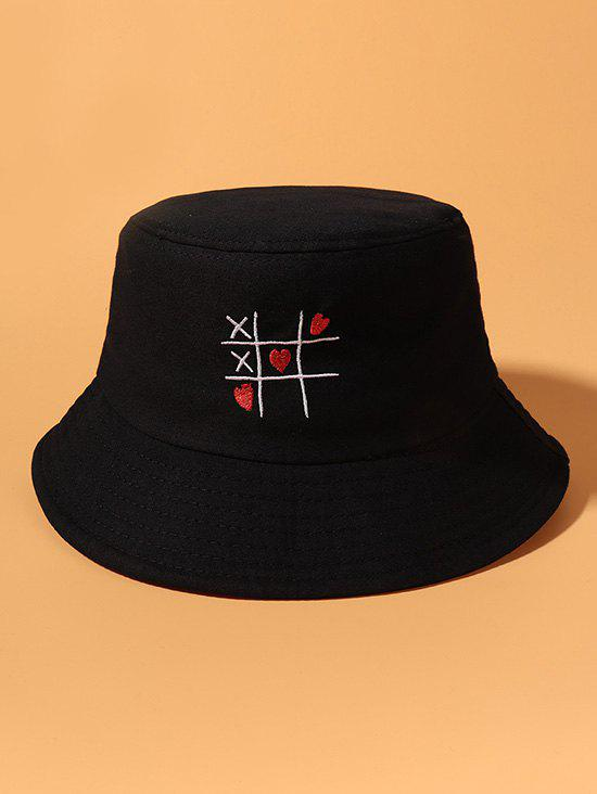 Heart Link Game Embroidered Bucket Hat - BLACK