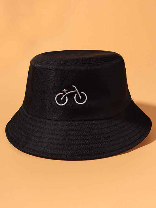 Bicycle Embroidered Casual Bucket Hat - BLACK