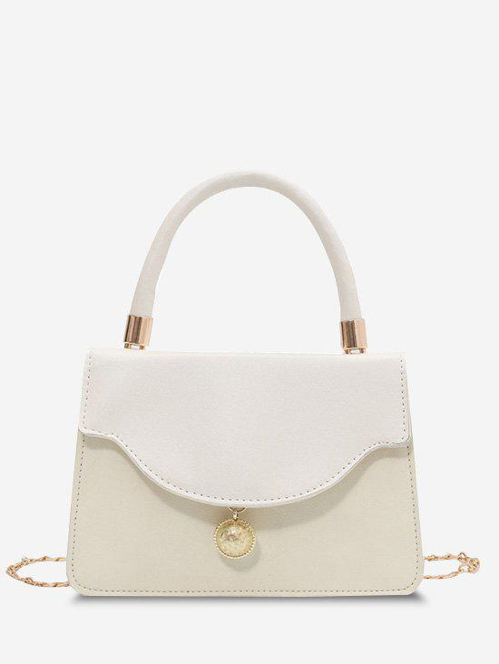 Golden Ball Embellished Flap Crossbody Bag - WHITE
