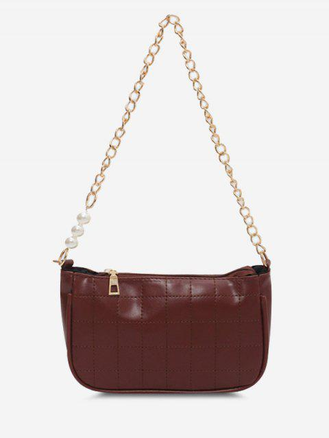 Faux Pearl Chain Quilted Shoulder Bag