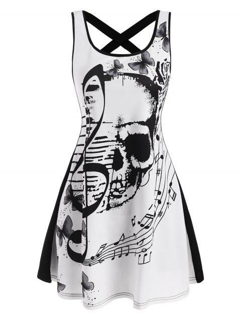 Criss Cross Skull Musical Note Butterfly Print Tank Dress
