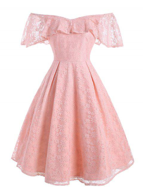 Lace Flounce Overlay Off Shoulder Prom Dress