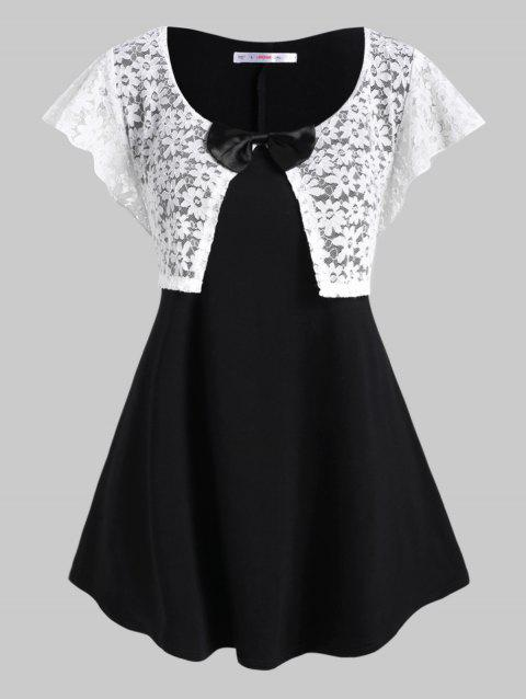 Glittery Lace Panel Bowknot Plus Size Top