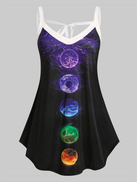 Plus Size Moon Eclipse Print Tied Back Tank Top