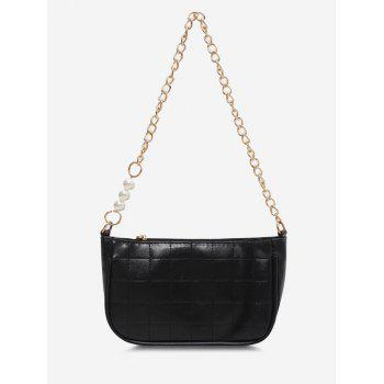 Faux Pearl Chain Quilted Shoulder Bag - BLACK