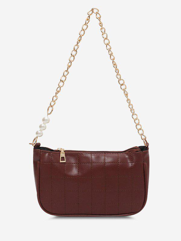 Faux Pearl Chain Quilted Shoulder Bag - BROWN