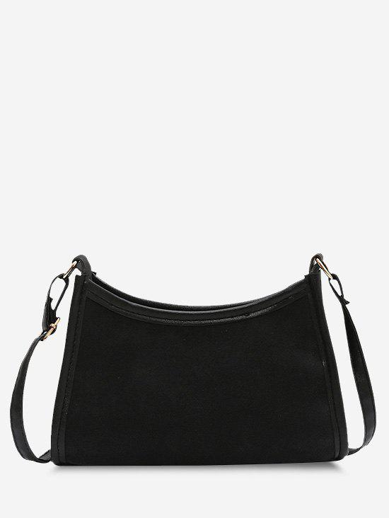 Frosted Texture Binding Shoulder Bag - BLACK