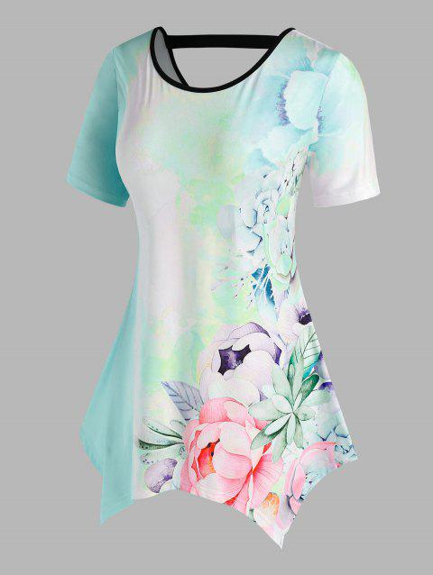 Plus Size Printed Flower Cut Out Back T Shirt