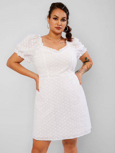 Plus Size Puff Sleeve Ruffled Broderie Anglaise Dress