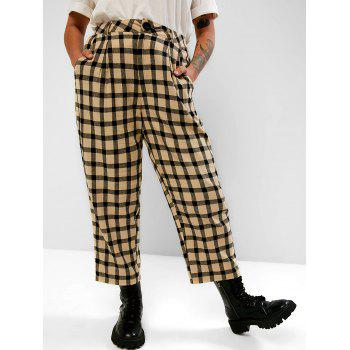 Plaid Pockets Plus Size Tapered Pants