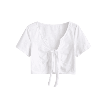 Plus Size V-notch Knotted Crop Top