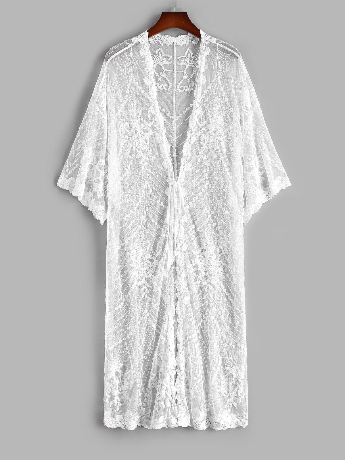 Flower Embroidered Mesh Tie Front Drop Shoulder Cover Up - WHITE ONE SIZE