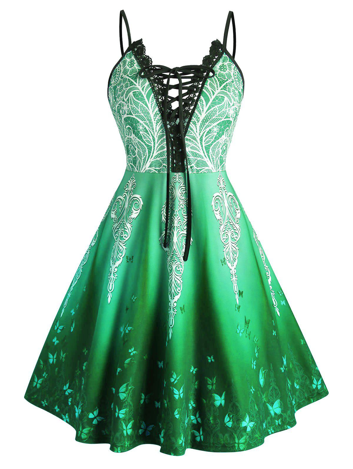 Plus Size Lace-up Ombre Butterfly Print Cami Dress - GREEN 4X