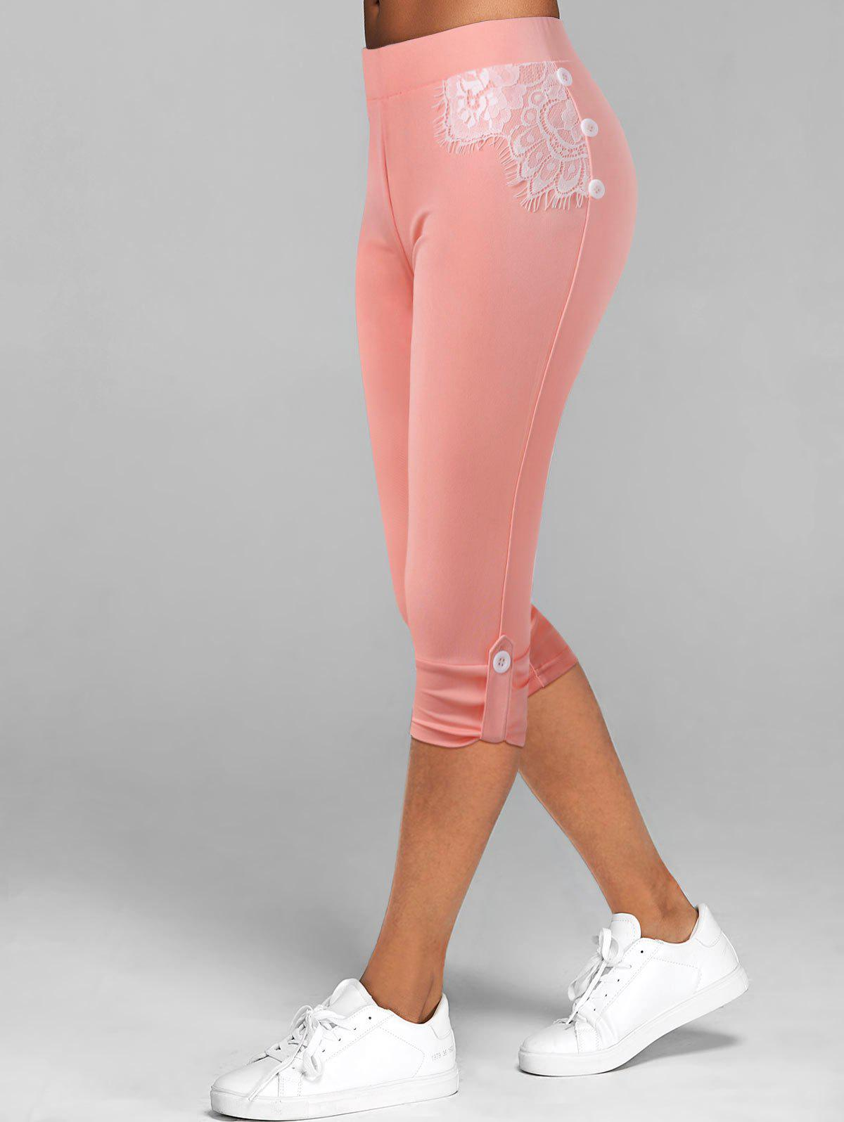 Lace Insert Button Tab Capri Leggings - LIGHT PINK XXL