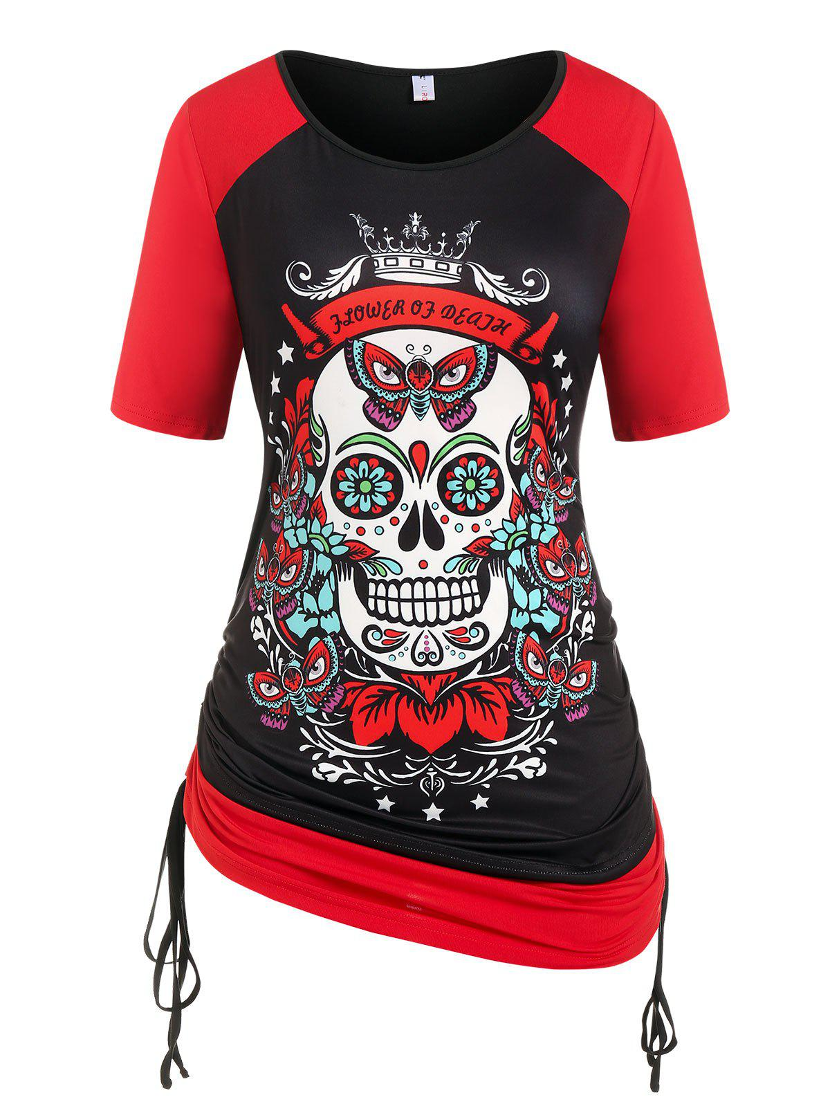 Plus Size Gothic Cinched Skull Butterfly Print Tee - BLACK 5X