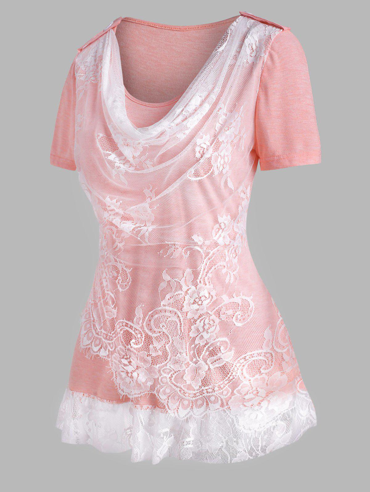 Cowl Front Lace Insert Ruffle Hem T Shirt - LIGHT PINK XL