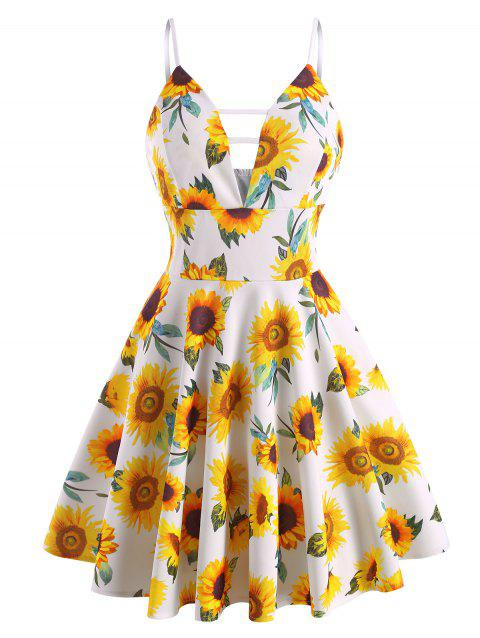Sunflower Plunge Front Ladder Cut Dress