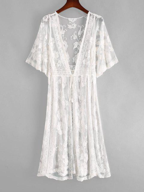 Flower Crochet Mesh Tie Front See Thru Longline Cover Up