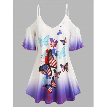 Plus Size Cold Shoulder Butterfly Print Ombre Color Tee