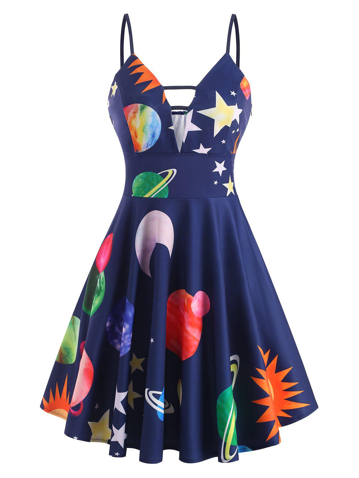Planet Strawberry Print Ladder Cut Plunge Front Dress - multicolor 2XL