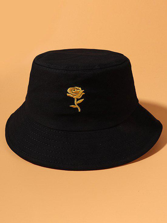Gold-Tone Rose Embroidery Bucket Hat - BLACK