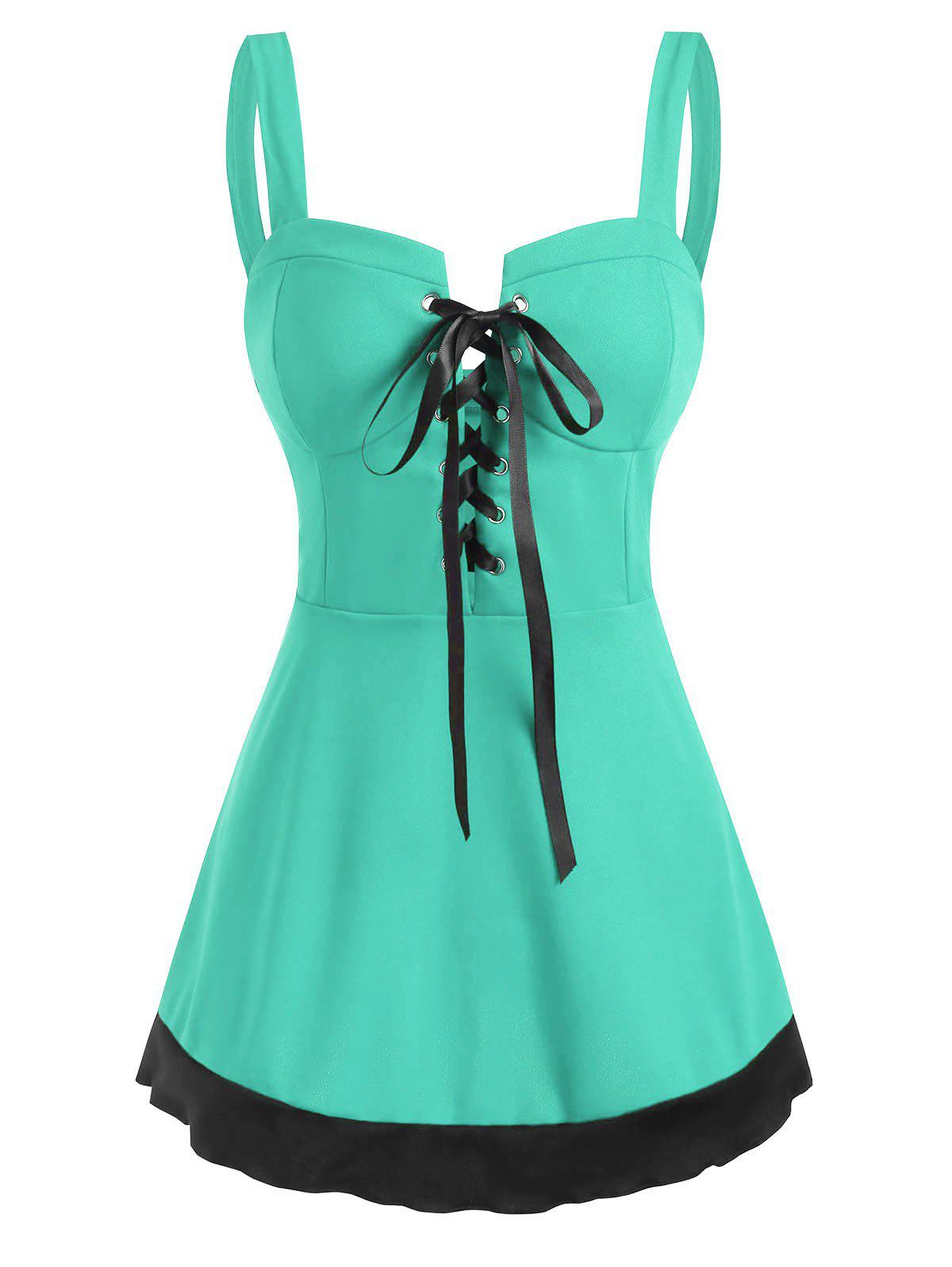 Colorblock Lace Up Sweetheart Tank Top - GREEN XXL