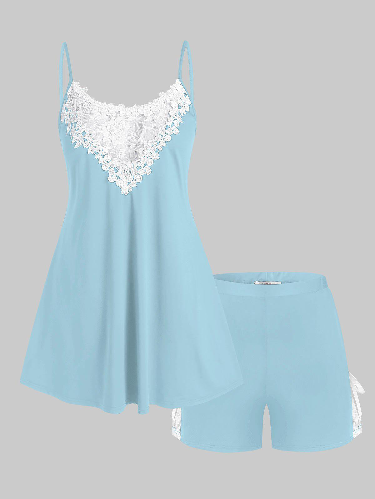 Plus Size Lace Panel Tied Two Piece Pajama Shorts Set - LIGHT BLUE 5X