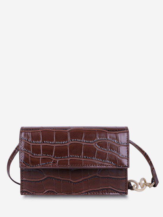 Minimalist Embossed Flap Crossbody Bag - BROWN