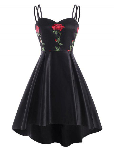 Flower Embroidered High Low Lace Insert Dress