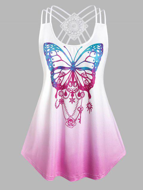 Plus Size Butterfly Print Strappy High Low Tank Top