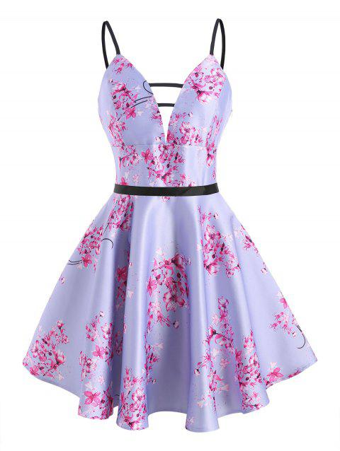 Flower Print Ladder Cut Plunge Front Dress