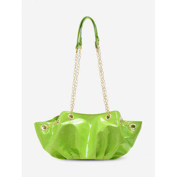 Pleated Chain Patent Leather Shoulder Bag - GREEN YELLOW