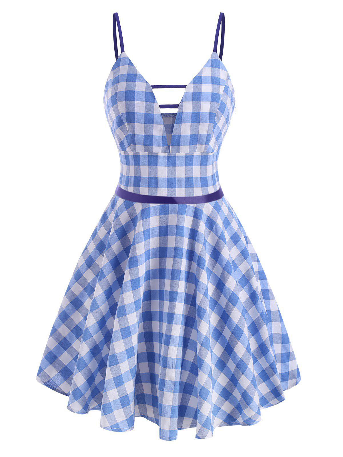 Gingham Ladder Cut Plunge Front Dress - LIGHT BLUE L