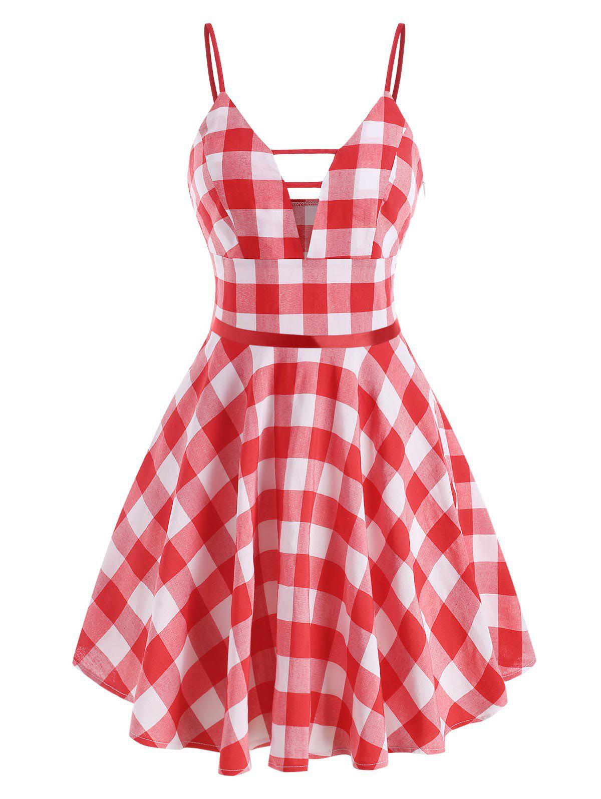 Gingham Ladder Cut Plunge Front Dress - RED M
