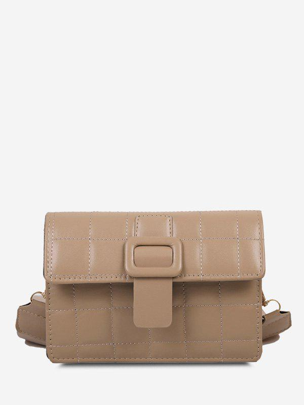 Retro Buckle Wide Strap Quilted Crossbody Bag - LIGHT KHAKI