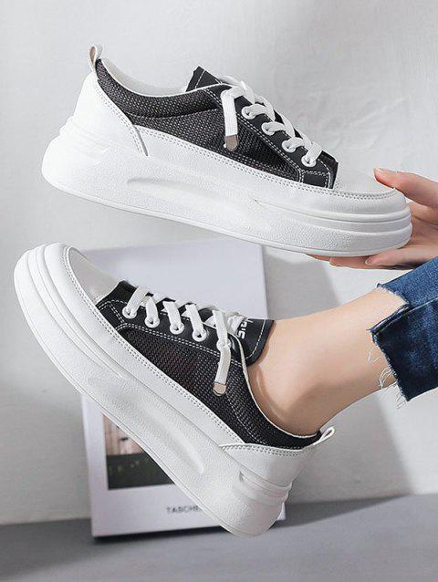 Mesh Platform Lace Up Sneakers